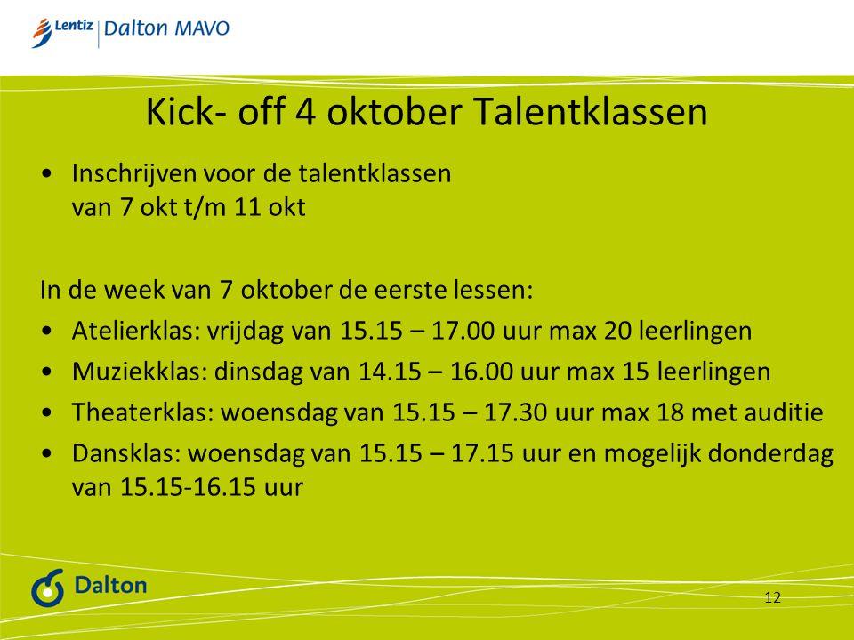 Kick- off 4 oktober Talentklassen
