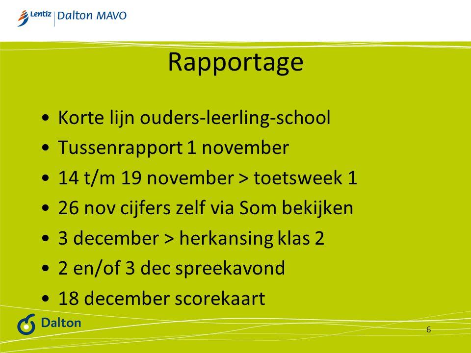 Rapportage Korte lijn ouders-leerling-school Tussenrapport 1 november