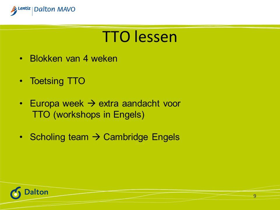 TTO lessen Blokken van 4 weken Toetsing TTO