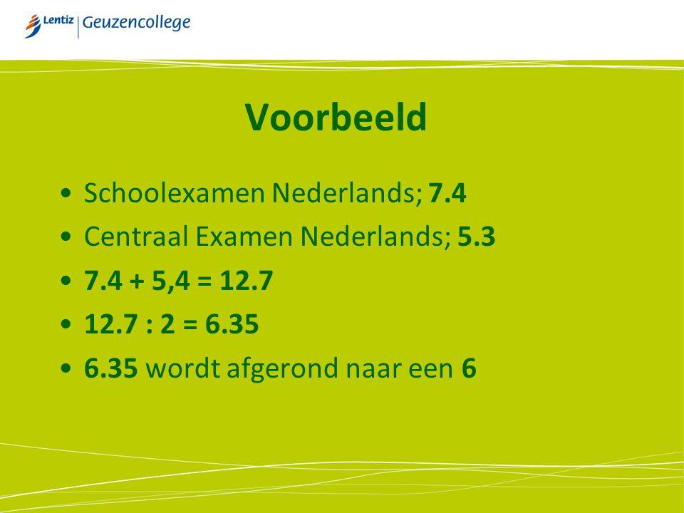 Voorbeeld Schoolexamen Nederlands; 7.4 Centraal Examen Nederlands; 5.3