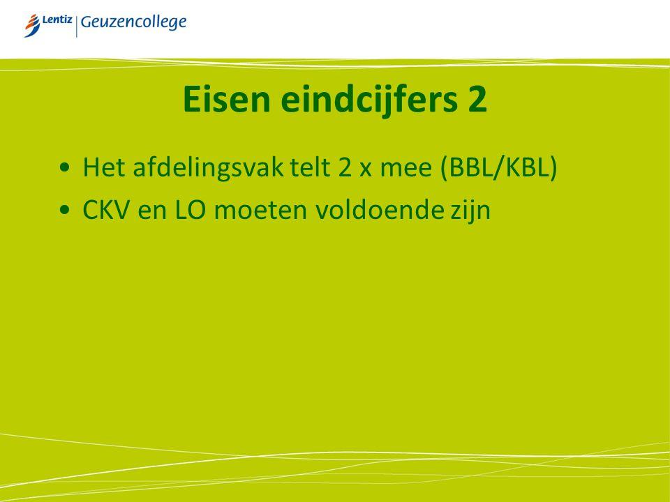Eisen eindcijfers 2 Het afdelingsvak telt 2 x mee (BBL/KBL)