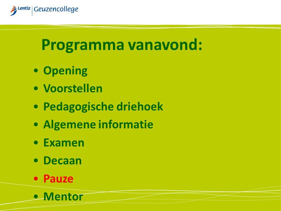 Programma vanavond: Opening Voorstellen Pedagogische driehoek