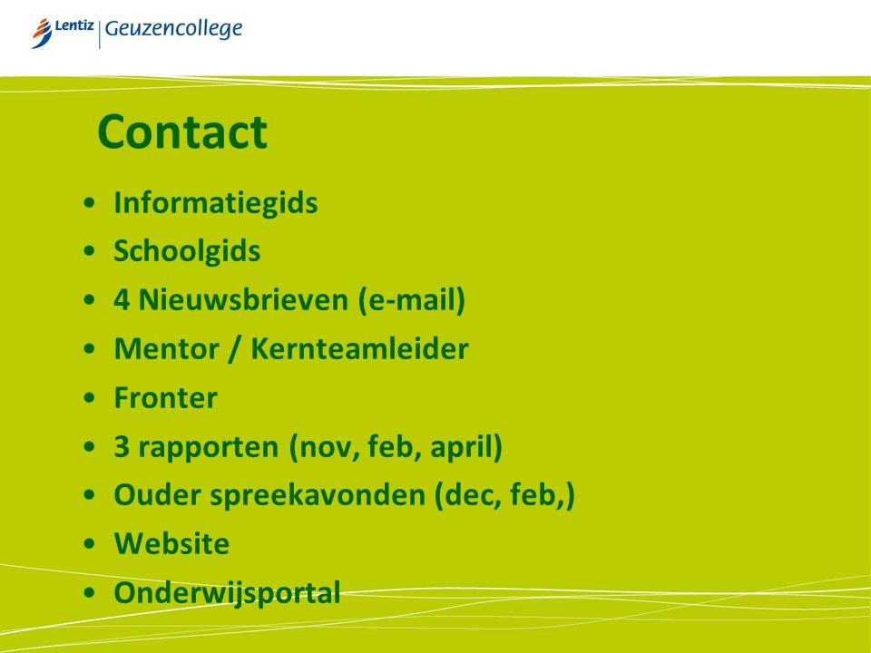 Contact Informatiegids. Schoolgids. 4 Nieuwsbrieven (e-mail) Mentor / Kernteamleider. Fronter. 3 rapporten (nov, feb, april)