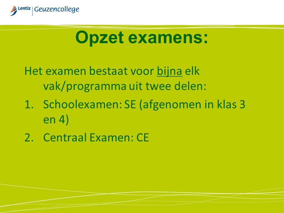 Opzet examens: Het examen bestaat voor bijna elk vak/programma uit twee delen: Schoolexamen: SE (afgenomen in klas 3 en 4)