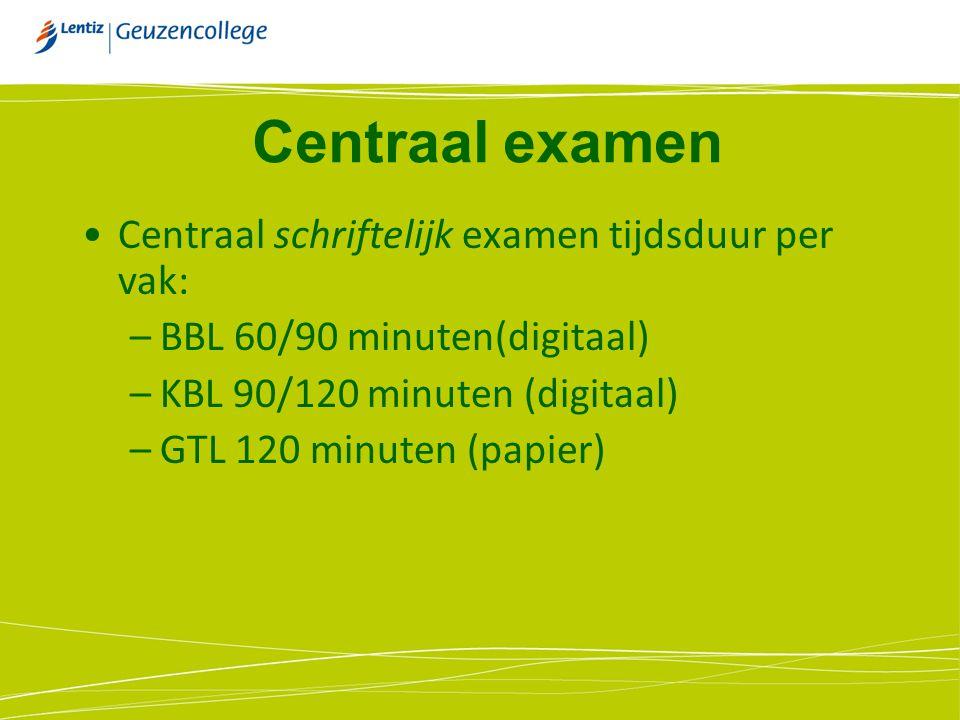 Centraal examen Centraal schriftelijk examen tijdsduur per vak: