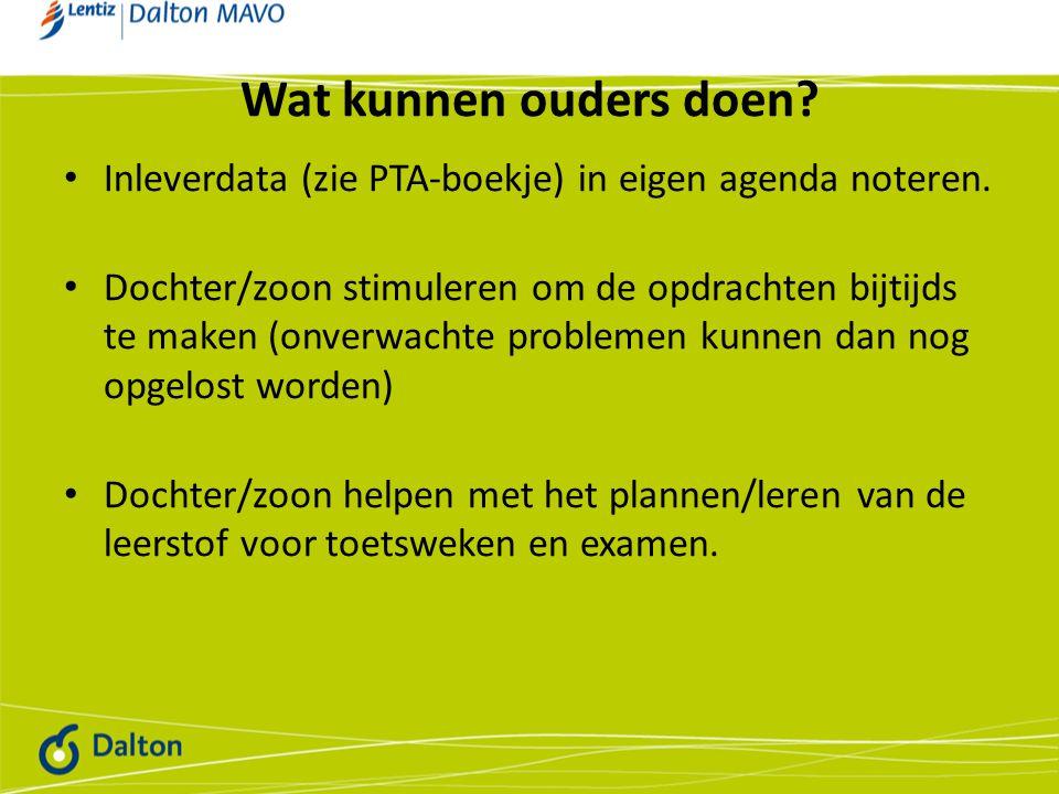 Wat kunnen ouders doen Inleverdata (zie PTA-boekje) in eigen agenda noteren.