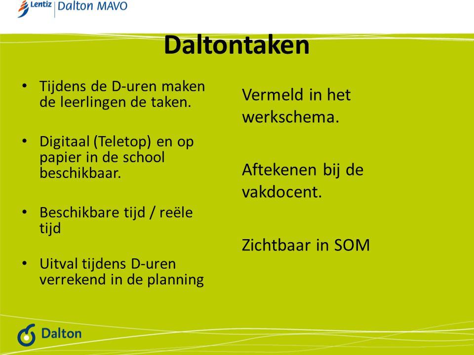Daltontaken Tijdens de D-uren maken de leerlingen de taken. Digitaal (Teletop) en op papier in de school beschikbaar.