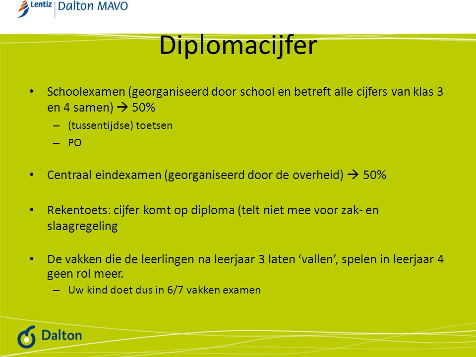 Diplomacijfer Schoolexamen (georganiseerd door school en betreft alle cijfers van klas 3 en 4 samen)  50%
