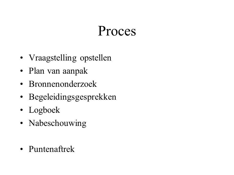 Proces Vraagstelling opstellen Plan van aanpak Bronnenonderzoek