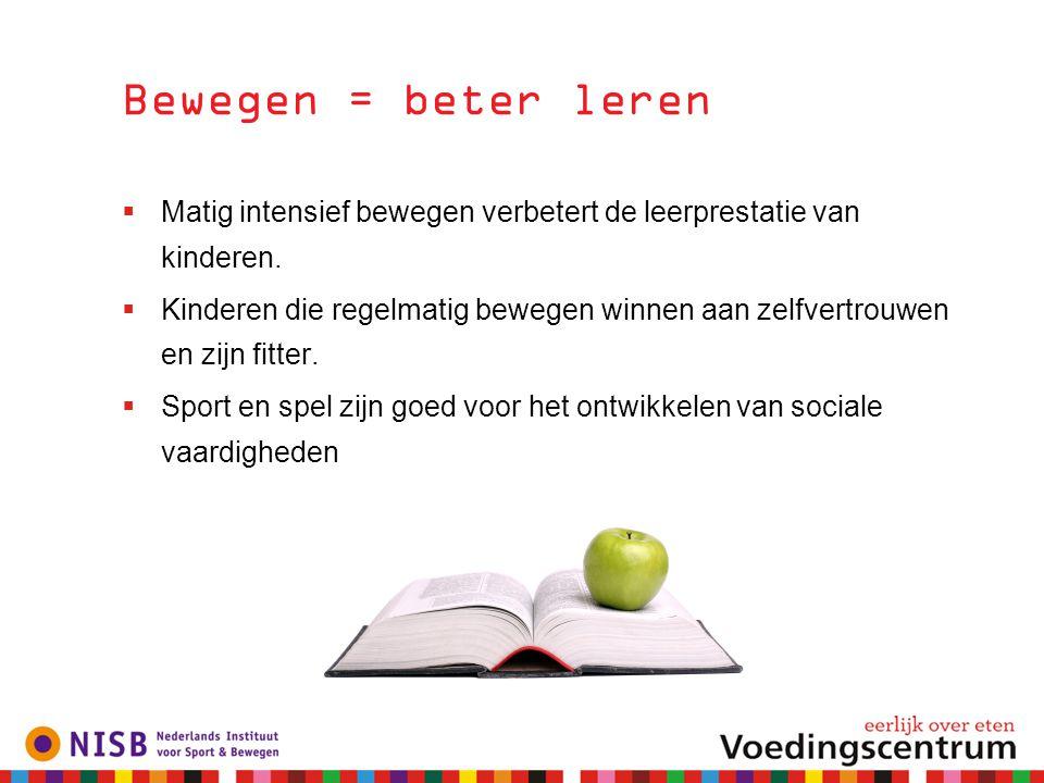 Bewegen = beter leren Matig intensief bewegen verbetert de leerprestatie van kinderen.