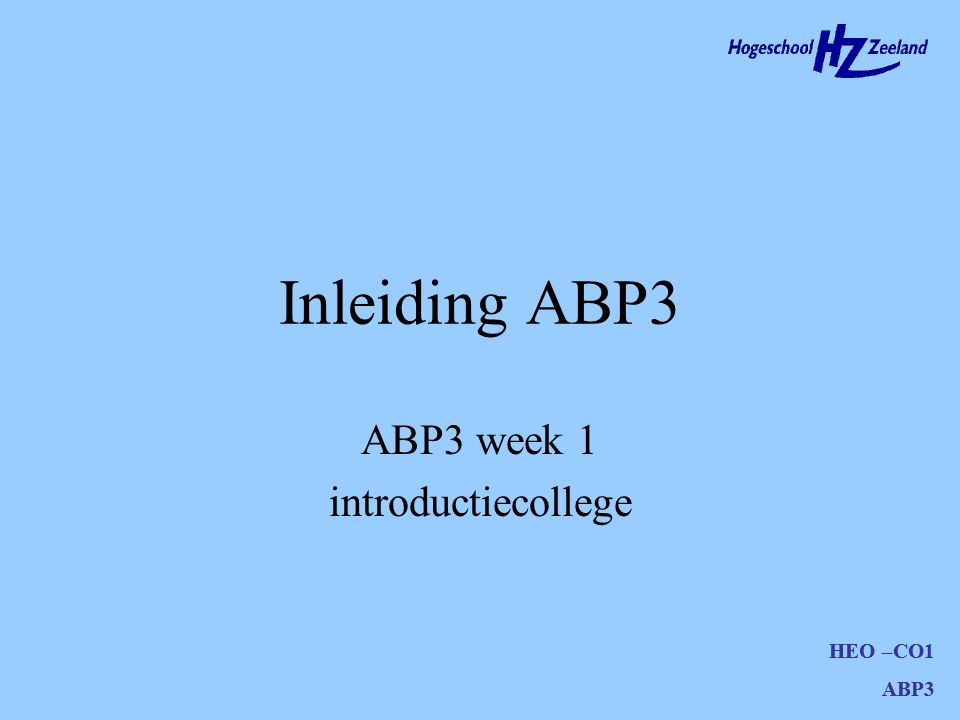 ABP3 week 1 introductiecollege
