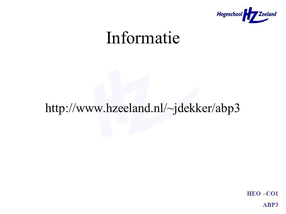 Informatie http://www.hzeeland.nl/~jdekker/abp3