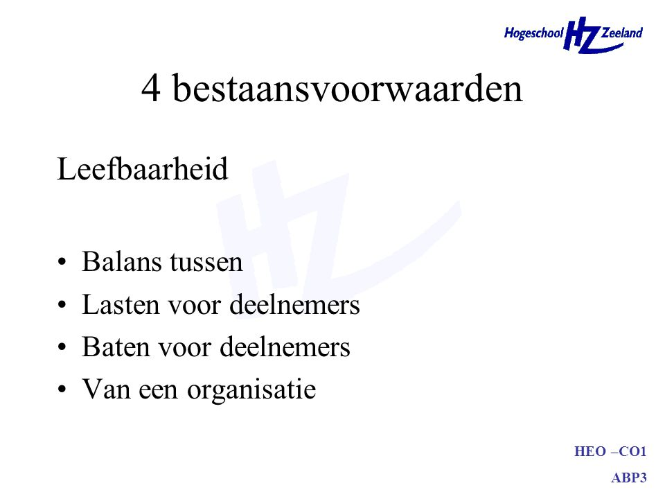 4 bestaansvoorwaarden Leefbaarheid Balans tussen