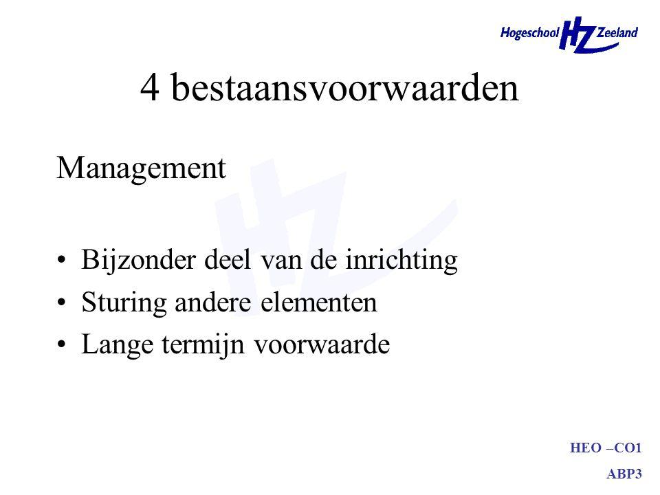 4 bestaansvoorwaarden Management Bijzonder deel van de inrichting