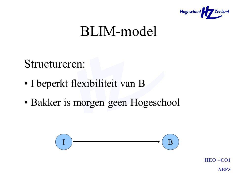 BLIM-model Structureren: I beperkt flexibiliteit van B