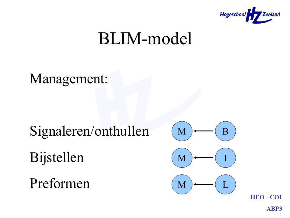 BLIM-model Management: Signaleren/onthullen Bijstellen Preformen M B M