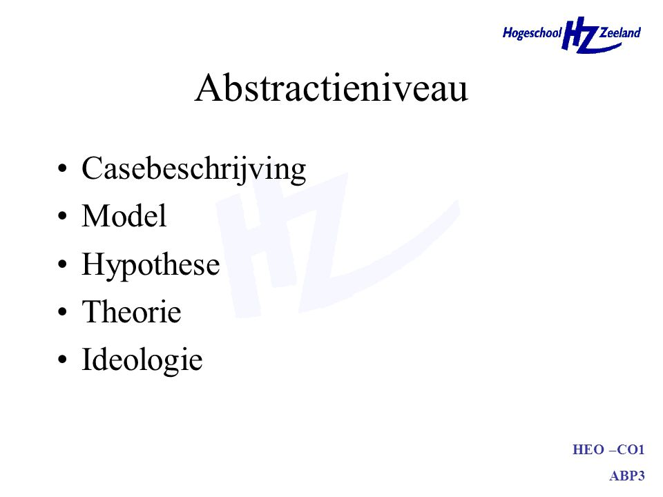 Abstractieniveau Casebeschrijving Model Hypothese Theorie Ideologie