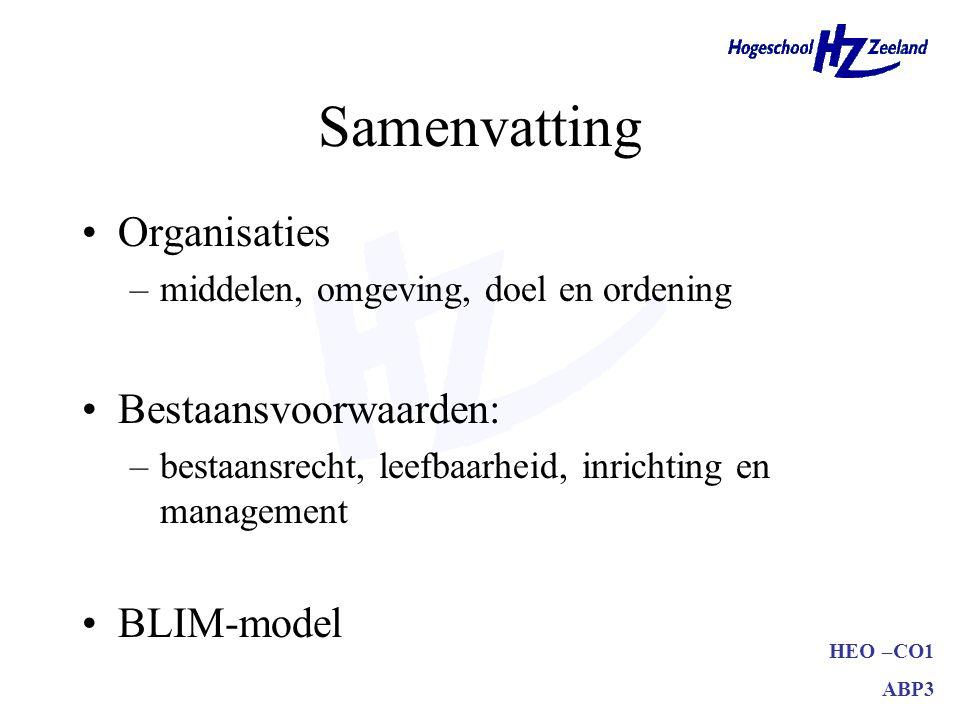 Samenvatting Organisaties Bestaansvoorwaarden: BLIM-model
