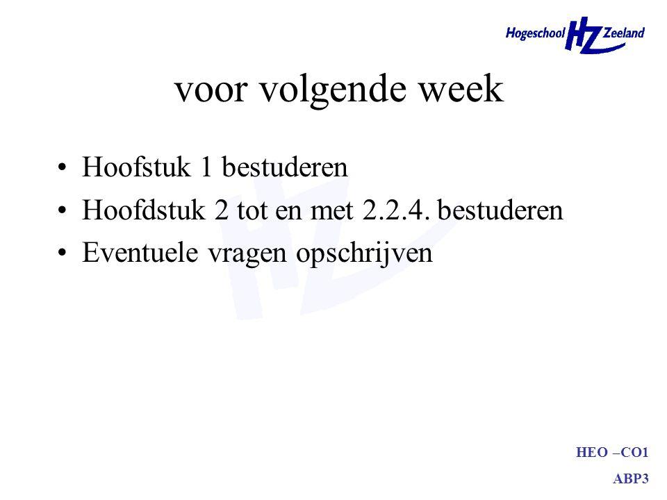 voor volgende week Hoofstuk 1 bestuderen