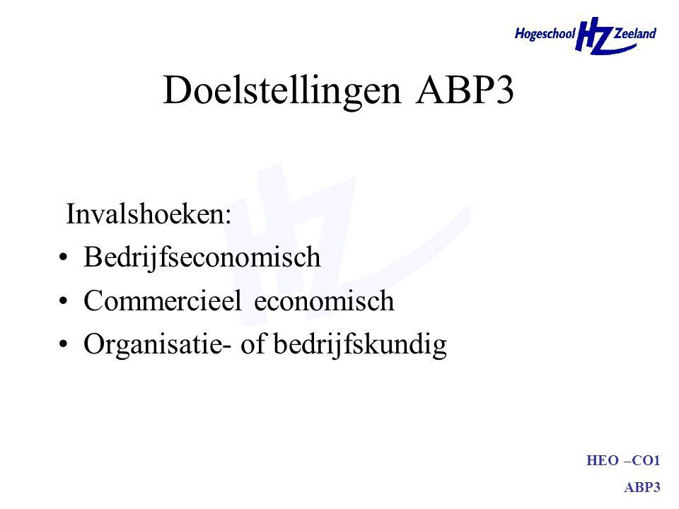 Doelstellingen ABP3 Invalshoeken: Bedrijfseconomisch