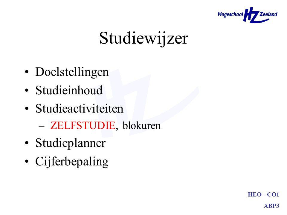 Studiewijzer Doelstellingen Studieinhoud Studieactiviteiten