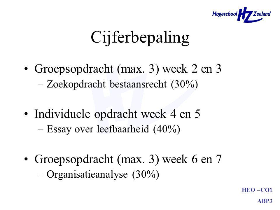 Cijferbepaling Groepsopdracht (max. 3) week 2 en 3