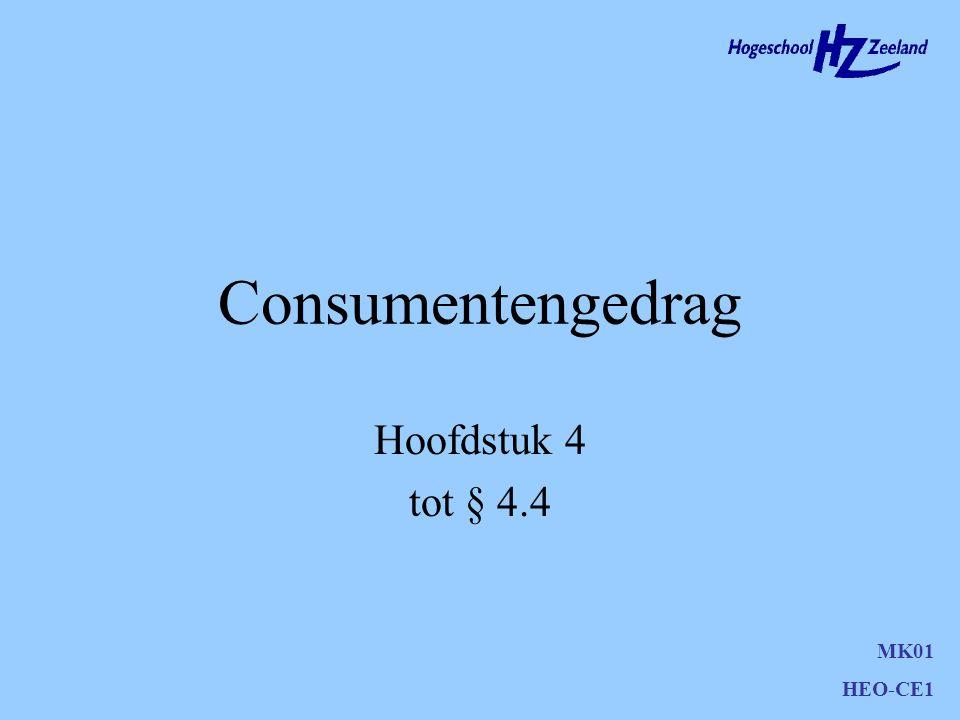 Consumentengedrag Hoofdstuk 4 tot § 4.4 MK01 HEO-CE1