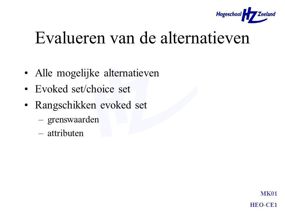 Evalueren van de alternatieven