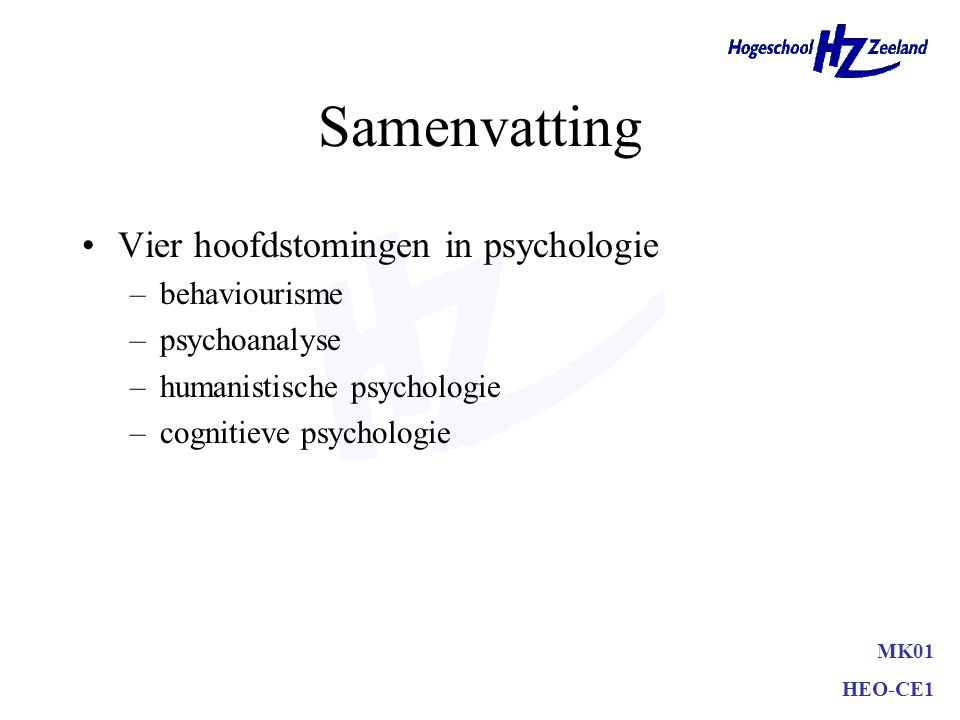 Samenvatting Vier hoofdstomingen in psychologie behaviourisme