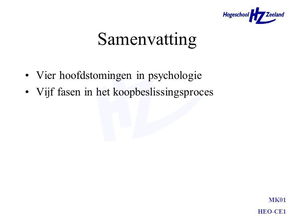 Samenvatting Vier hoofdstomingen in psychologie