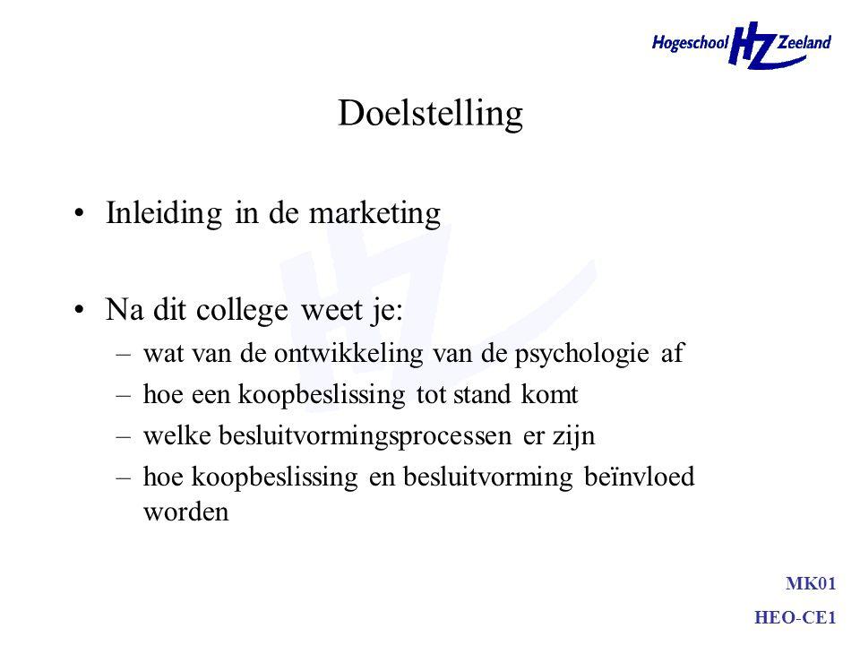 Doelstelling Inleiding in de marketing Na dit college weet je: