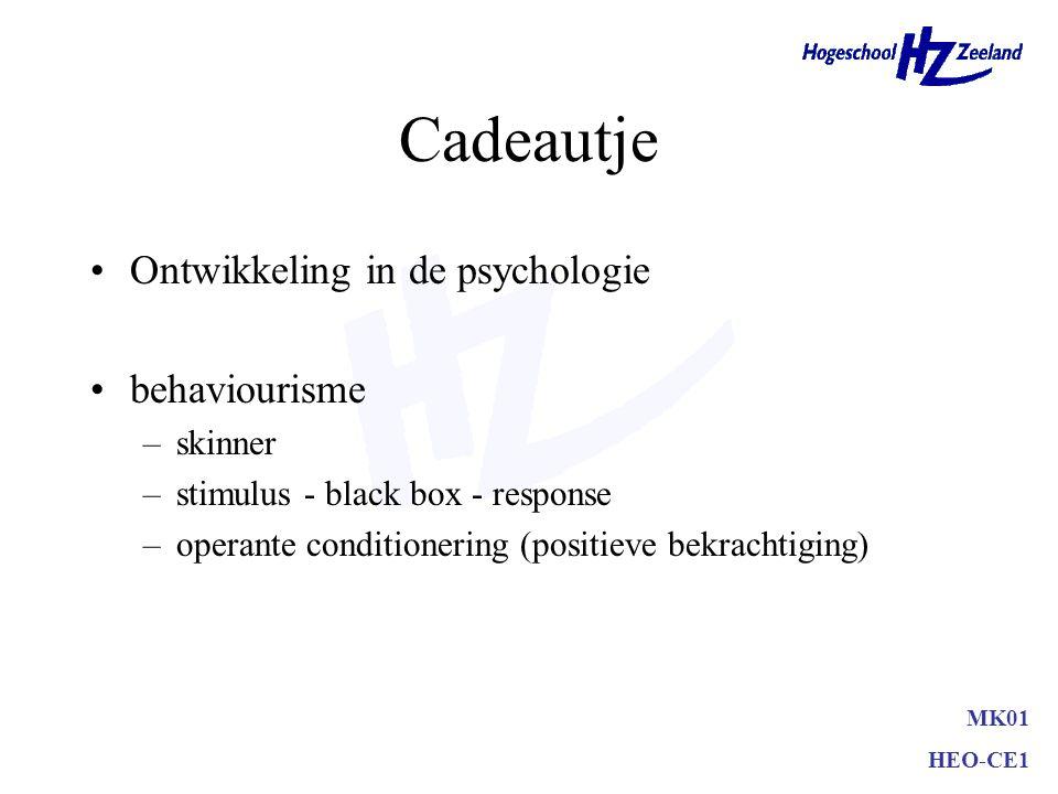 Cadeautje Ontwikkeling in de psychologie behaviourisme skinner