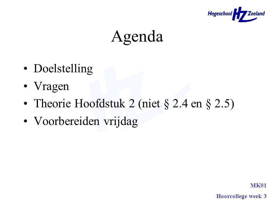 Agenda Doelstelling Vragen Theorie Hoofdstuk 2 (niet § 2.4 en § 2.5)