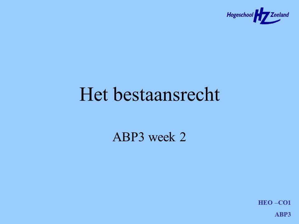Het bestaansrecht ABP3 week 2 HEO –CO1 ABP3