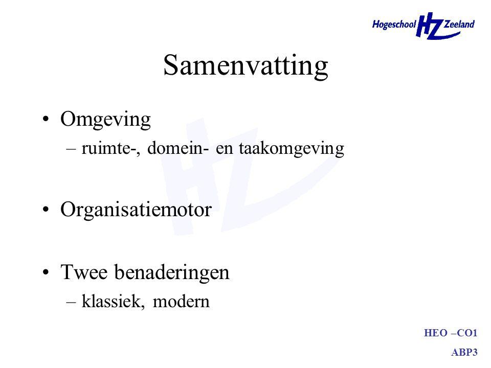 Samenvatting Omgeving Organisatiemotor Twee benaderingen