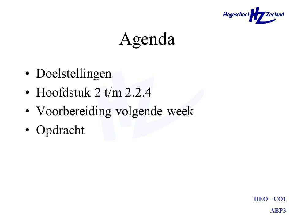 Agenda Doelstellingen Hoofdstuk 2 t/m 2.2.4