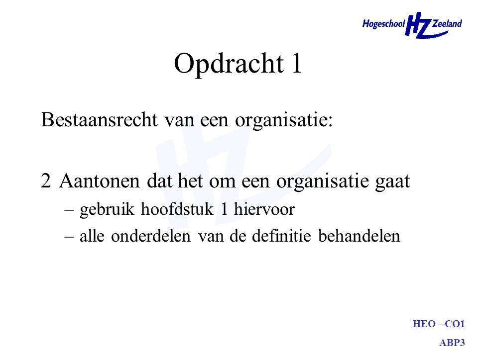 Opdracht 1 Bestaansrecht van een organisatie:
