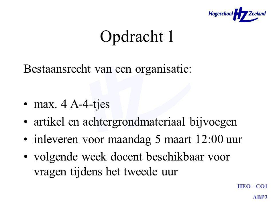 Opdracht 1 Bestaansrecht van een organisatie: max. 4 A-4-tjes