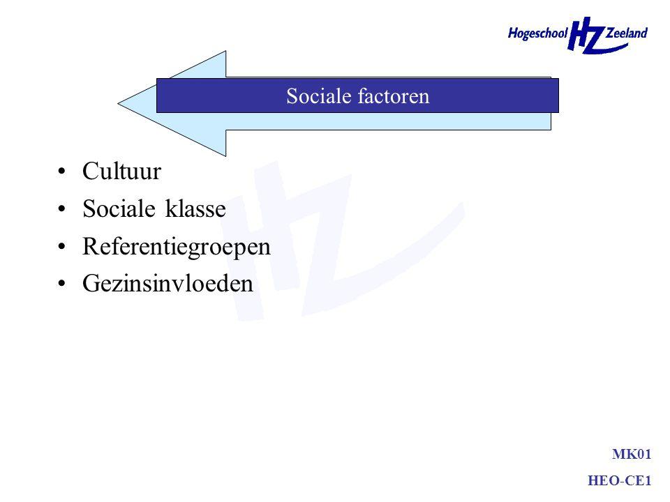 Cultuur Sociale klasse Referentiegroepen Gezinsinvloeden