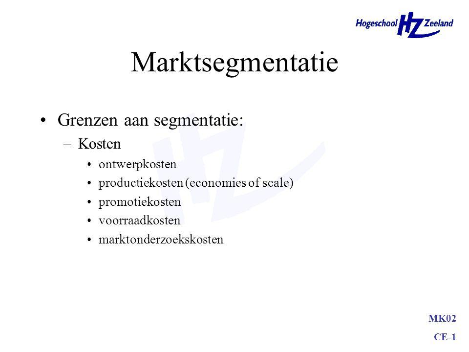 Marktsegmentatie Grenzen aan segmentatie: Kosten ontwerpkosten