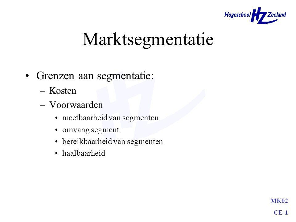 Marktsegmentatie Grenzen aan segmentatie: Kosten Voorwaarden