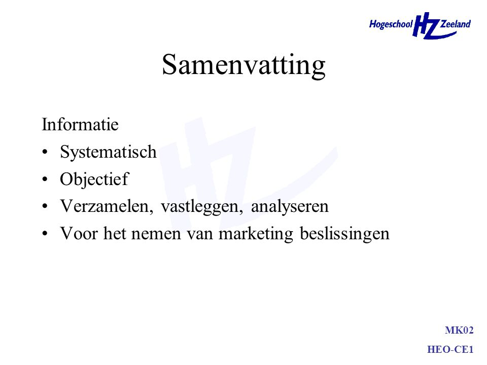 Samenvatting Informatie Systematisch Objectief