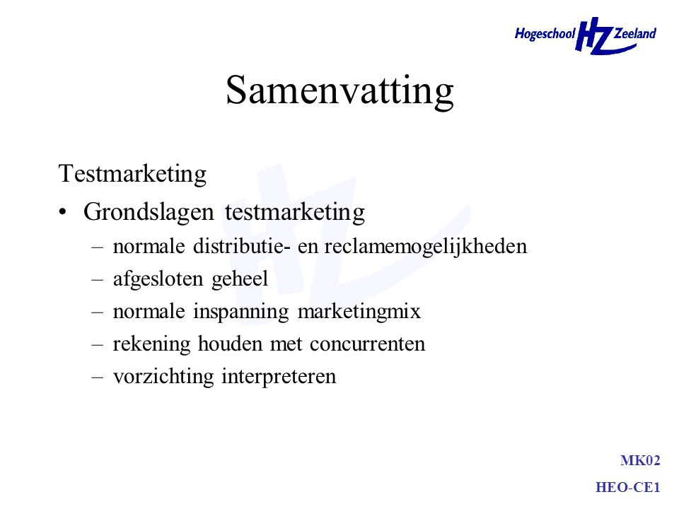 Samenvatting Testmarketing Grondslagen testmarketing