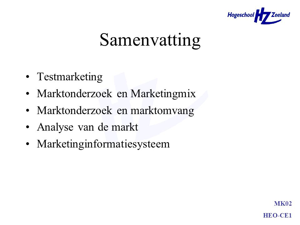 Samenvatting Testmarketing Marktonderzoek en Marketingmix
