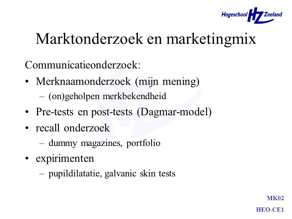 Marktonderzoek en marketingmix