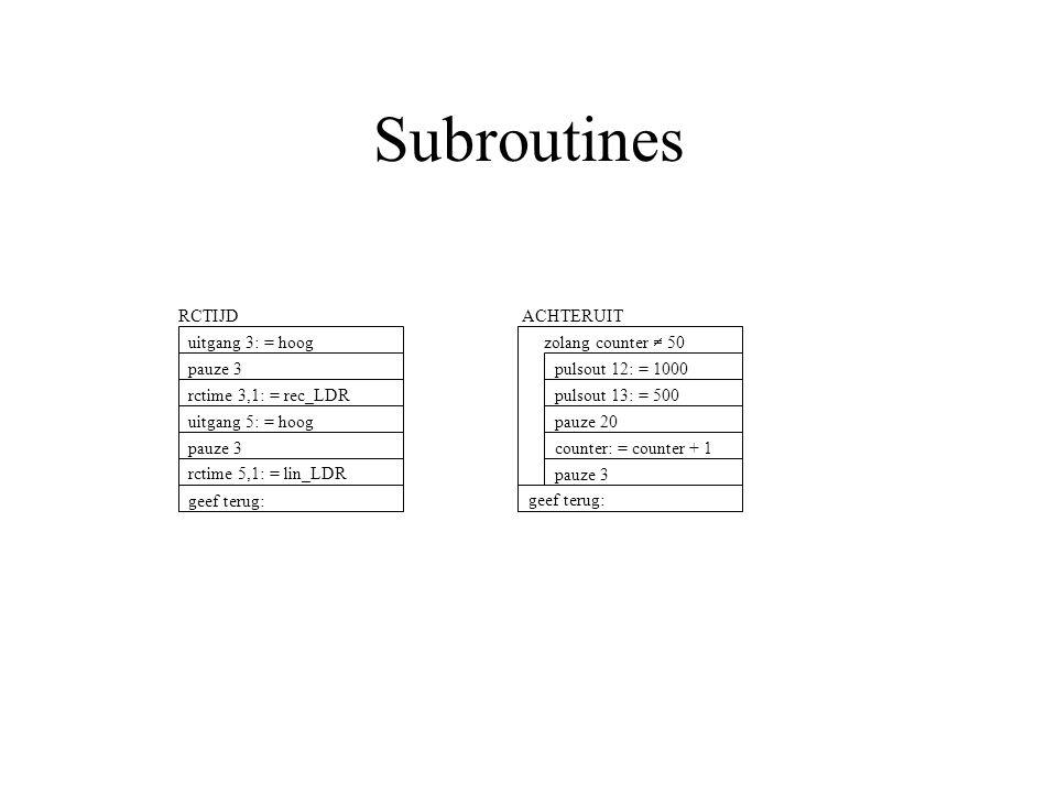 Subroutines RCTIJD pauze 3 rctime 3,1: = rec_LDR uitgang 5: = hoog