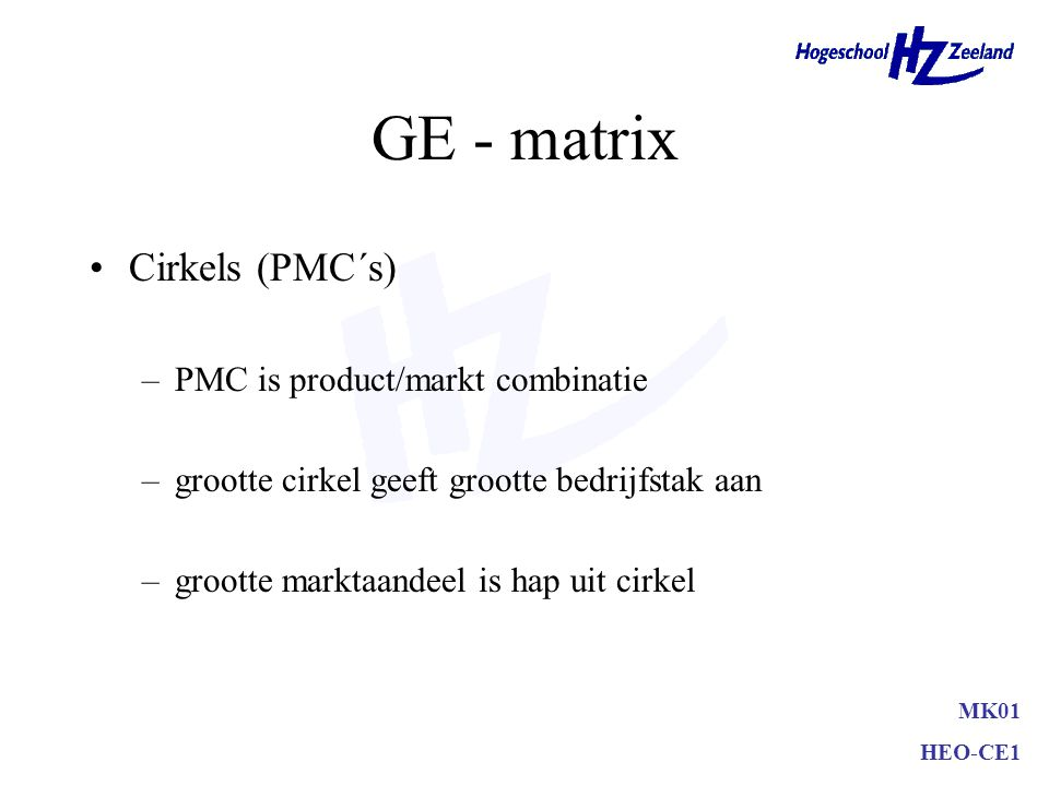 GE - matrix Cirkels (PMC´s) PMC is product/markt combinatie