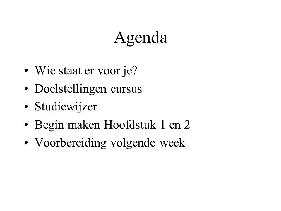 Agenda Wie staat er voor je Doelstellingen cursus Studiewijzer
