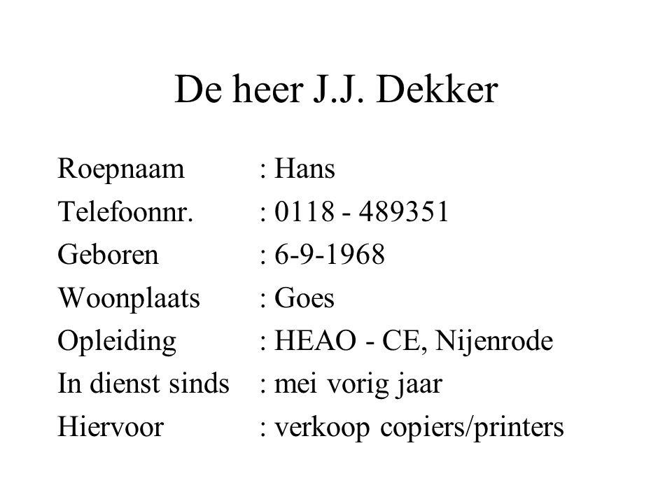 De heer J.J. Dekker Roepnaam : Hans Telefoonnr. : 0118 - 489351