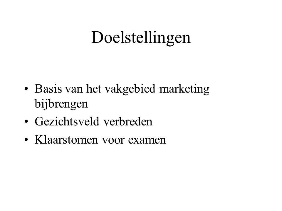 Doelstellingen Basis van het vakgebied marketing bijbrengen